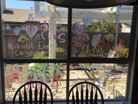 Breakfast nook window now dons triplet art work (paint)